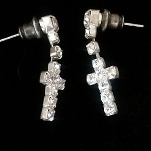 Jewelry - Jeweled cross earrings
